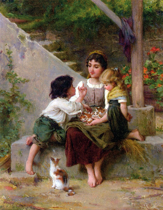 Munier Emile Playing with the Kittens 1895 Oil On Canvas660