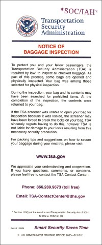 Notice of baggage inspection200